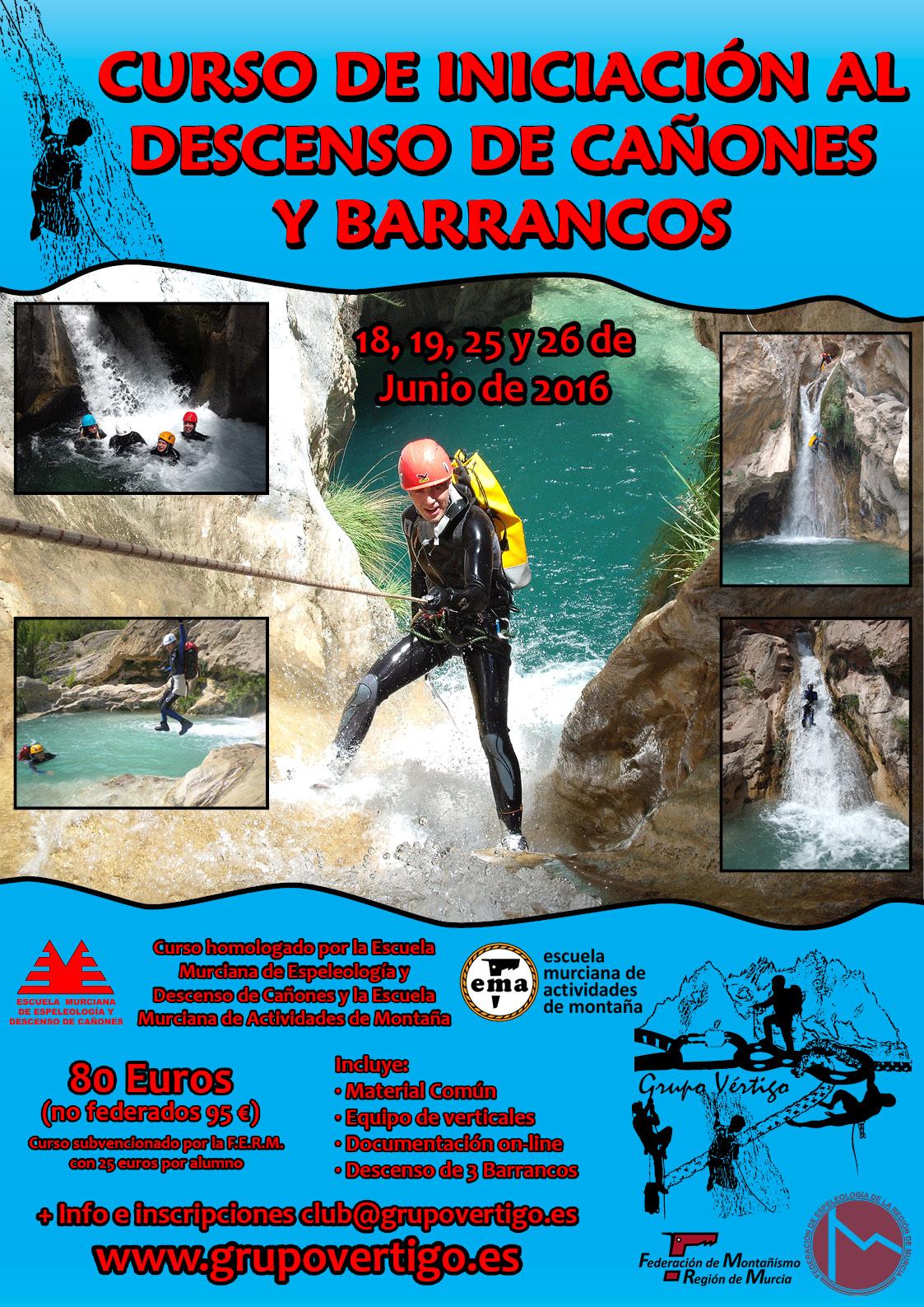 Cartel Curso de Iniciación al Descenso de Cañones y Barrancos